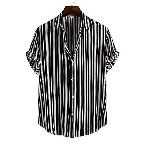 メンズストライプシャツハワイアン半袖アロハビーチシャツサマーカジュアルボタンダウンシャツ、レギュラーフィット、マルチカラー,黒,L