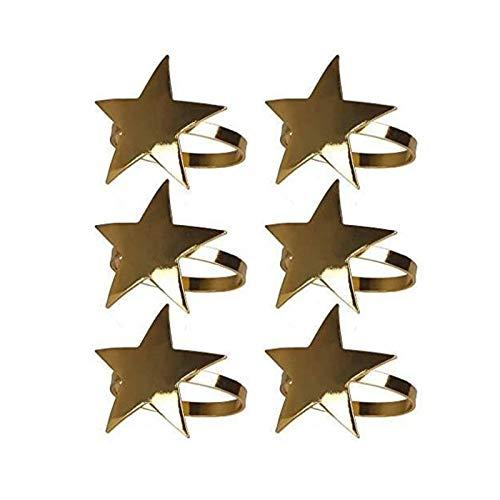 JIAN LIN 6 Piezas de Estrella de Cinco Puntas Anillos de servilleta del Metal del Oro Servilletero de Navidad Adecuado for Fiestas cenas recepciones de Bodas 4.5cm