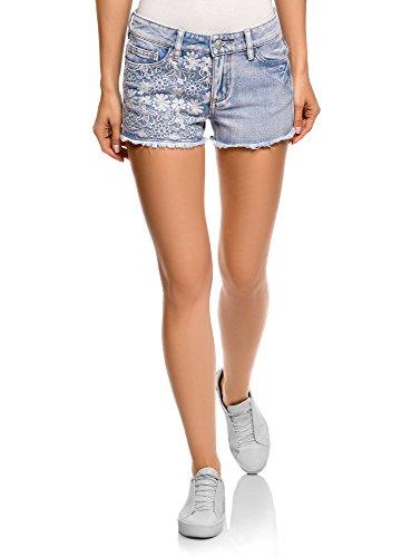 oodji Ultra Damen Jeansshorts mit Stickerei, Blau, Herstellergröße DE 34 / EU 36 / XS