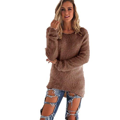 Amlaiworld Sweatshirts Winter bunt plüsch locker pullis Damen komfortabel Sport Sweatshirt warm flauschig Lang Pullover (Braun, XXXL)