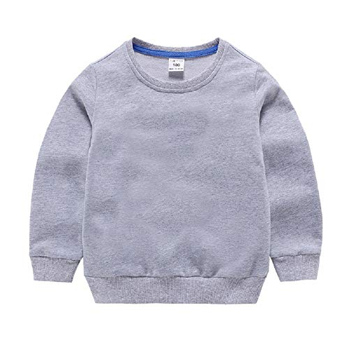 Girls Boys Solid Sweatshirt Kids Long Sleeve Cotton Thin Pullover Toddler Baby Tops Blouse 1-8 Years (Gray, 1T)