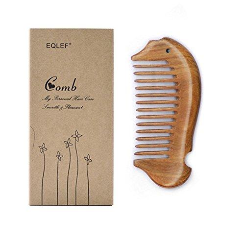 EQLEF Pescado forma verde sándalo peine de bolsillo pequeño cepillo de pelo peine de pelo peine de pelo peine de madera y púas anchas