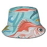 Sombrero de pez dorado en un acuario juntos verano pescador Cap Beach Sun Sombreros de pesca Gorras de béisbol Unisex plegable Bucket Sombreros Negro