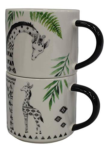 Zestaw 2 kubków do kawy Jumbo Bone China 500 ml możliwość układania w stos żyrafa dzika przyroda nadruk