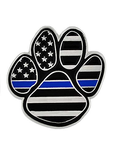 PinMart Law Enforcement Thin Blue Line K9 Police Dog Paw Print Lapel Pin 1 Piece