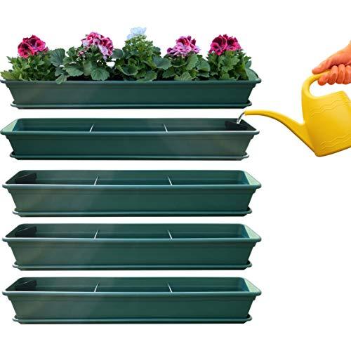 4er Blumenkasten Set Balkonkasten Pflanzkasten Grün mit Bewässerungssystem und Balkonkasten Untersetzer 80cm