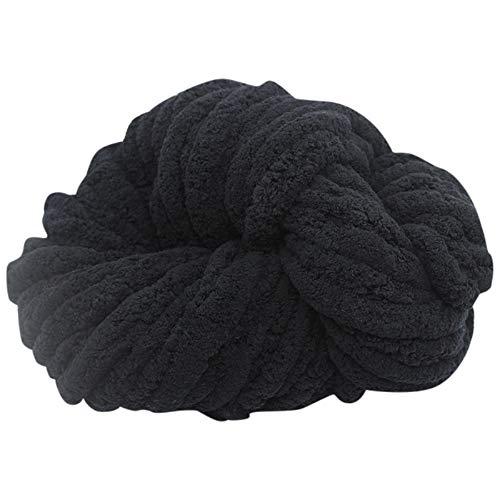 Woll meliert, Wolle Mischung, 300g Wolle als Knäuel, Lauflänge ca.18 m, Wolle zum Stricken und Häkeln (Black)