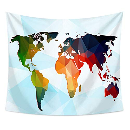 GenericBrands Mapa del Mundo Tapiz Azul América Asia África Colgante de Pared Mantel Toalla de Playa Dormitorio Decoración del hogar Yoga Picnic Mat