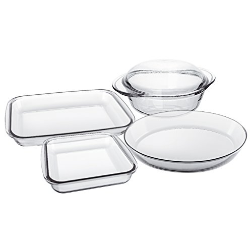 "Euro-Ware Marinex""Celebrity Collection"" 5 Piece Glass Oval Baking/Serving Dish Set, Clear"