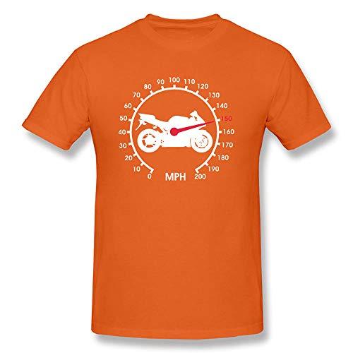 T-Shirts Motorradgetriebe Tachometer Biker Schwarz T-Shirts Geschwindigkeit Vintage Design T-Shirt Für Männer Casual Tops-Orange_XL