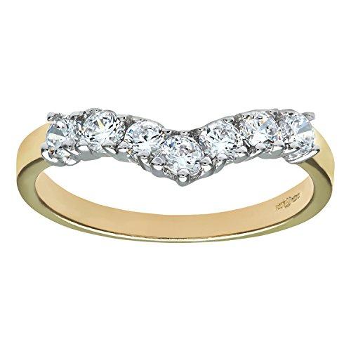Citerna 9 ct Yellow and White Gold Stone Set Wishbone Ring - Size Q
