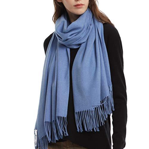 Womens Winter Scarf Cashmere Feel Pashmina Shawl Wraps Soft Warm Blanket Scarves for Women (One size, Cobalt BlueDenim Blue)
