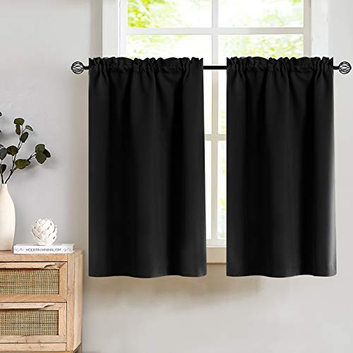 Lazzzy Black Small Window Tier Curtains - Thermal Insulated Home Decor Blackout Grommet Valance Curtains Drapes (34W by 24L inches, Black, 2 Pieces)