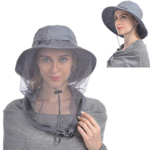 USHAKE Head Net Hat, Safari Hat Sun Hat Bucket Hat with Hidden Net Mesh Dark Grey