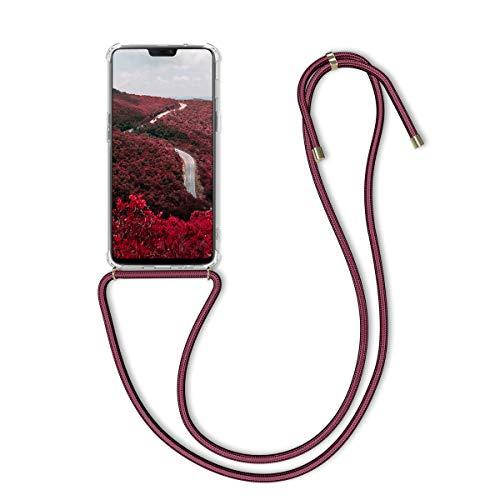 kwmobile Schutzhülle kompatibel mit OnePlus 6 - Hülle mit Kordel zum Umhängen - Silikon Handy Hülle Transparent Dunkelrot