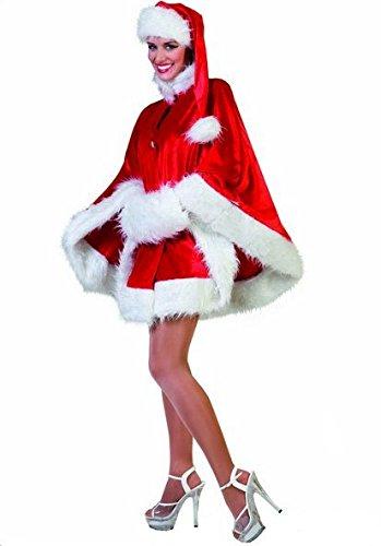 Mantello Babba Natale rosso con cappello babbo e manicotto di peluche mamma