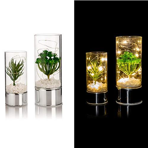 LED Windlichter mit Deko-Pflanzen 2er Set, Timer, Glas-Windlicht mit Lichterkette…