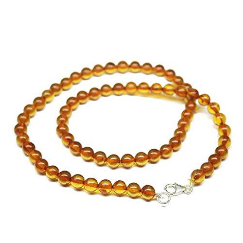 Piedra Ámbar Báltico Polonia suave bola redonda, Natural Craft Loose Beads Strand Collar 18