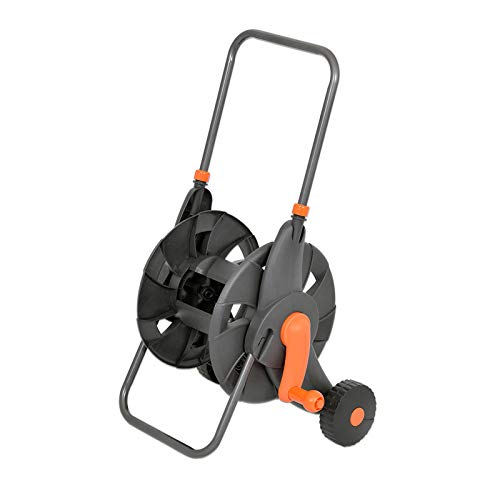 Legines Vis Garden Hose Reel Cart with 2 Wheels and Handle Portable Water Hoses Retractable Carts Metal Retractable Handle Holds 200 Feet of 1/2-Inch Hose for Yard, Lawn, Farm,Patio.
