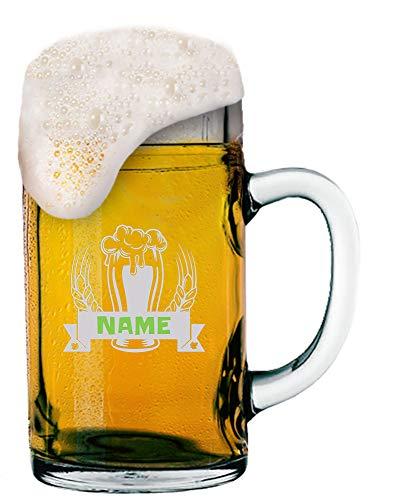 MeinGlas GmbH Gravierter Maßkrug 1,0 l mit Logo (Bier) und Wunsch-Namen und Logo-Gravur 1 Liter Bierkrug mit persönlicher Gestaltung nach Ihren Vorgaben