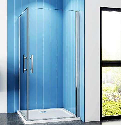 Aica Sanitär Duschkabine 90x90cm Duschabtrennung Eckeinstieg Duschtür Schwingtür Drehtür ESG NANO Glas Dusche