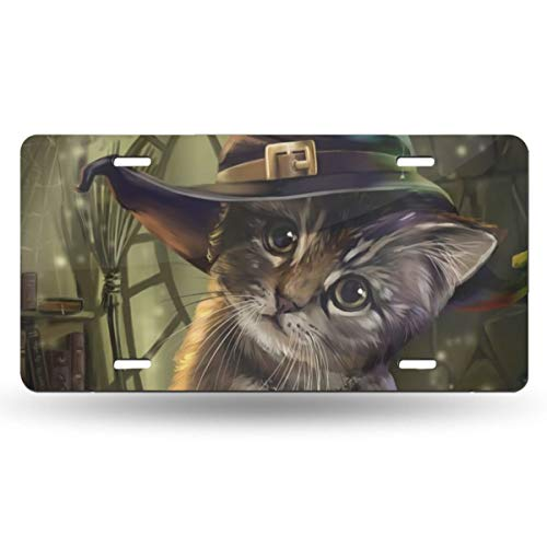 Samhain Cute Pet Cat Wicca Witch Wiccan Book Themed Printed License Plates for Front of Car Tags Accessories Decorations Women Men Girls Ornament Items Merchandise Supplies Gifts
