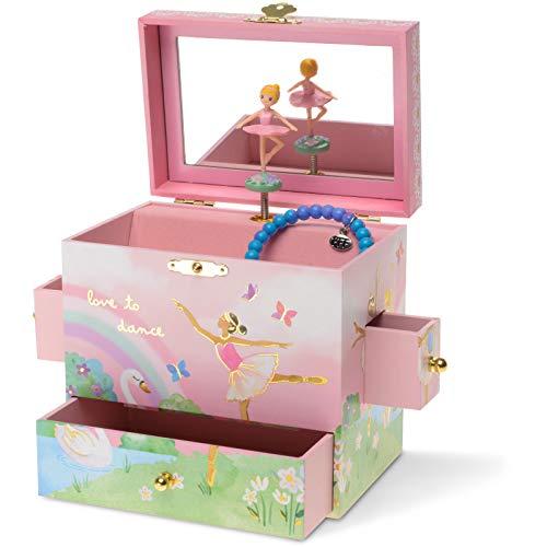 Jewelkeeper - Carillon Portagioie Musicale con 3 Cassetti, Design Ballerina Arcobaleno - Melodia Lago dei Cigni
