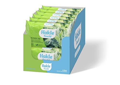 Hakle Feucht Grüner Tee im 12er-Pack, 504 Tücher (12 x 42 Blatt), pflegendes feuchtes Toilettenpapier, hautverträgliche feuchte Tücher, schnell wasserlösliche Feuchttücher