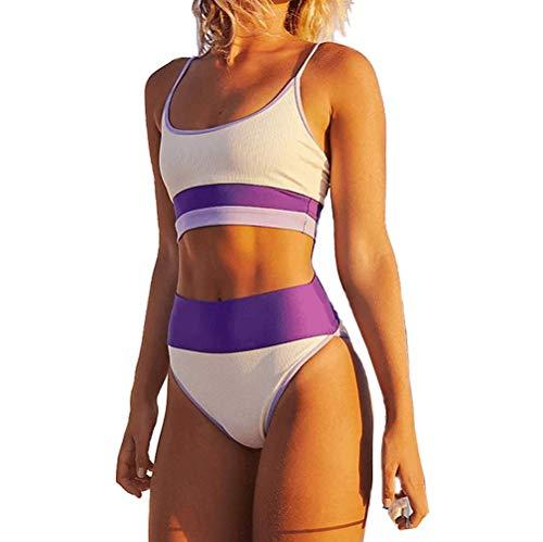 DURINM Traje de Baño Bikini Mujer Sujetador Push-up Sexy Traje de Baño de Dos Piezas Bohemio BañAdores Tops y Braguitas (púrpura, M)