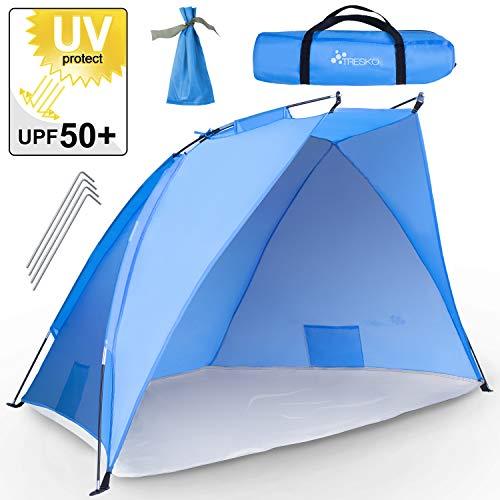 TRESKO® Tienda de Playa Anti UV 50+ | Carpa de Refugio de Sol | Tienda de Campaña con Protección Solar Portátil y Plegable