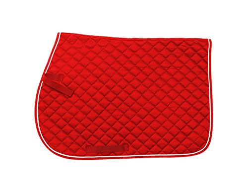 Tough 1 EquiRoyal Square Quilted Cotton Comfort English Saddle Pad, Red