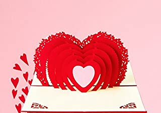 Love Heart Valentine Day Gift 3D Pop Up Handmade Romantic Thank You Greeting Cards to Girlfriend Mother Wife for Birthday Friend's Anniversary Wedding Engagement Get Well Card
