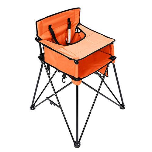 VEEYOO Seggiolone portatile per bambini, seggiolone pieghevole con vassoio per bambino, seggiolone per bambini con custodia, arancione