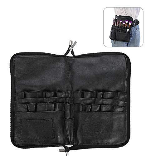 Sac de pinceau de maquillage, sac de pinceau pour maquilleur professionnel Sac de pinceau de poche multifonctionnel épais de haute qualité noir PU