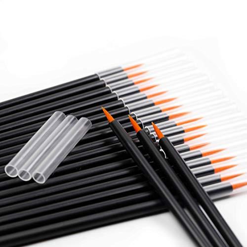 YEASHINE 50 PCS Disposable Eyeliner Brush Applicator Eyeliner Magic Wand Eyeliner Makeup Tool (bag(protective), coffee Brush)