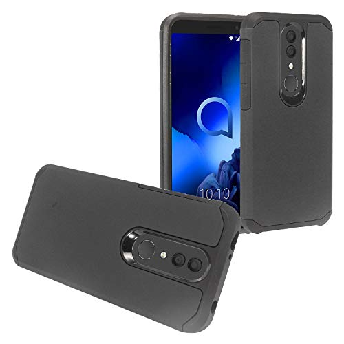 Z-GEN - for Alcatel Onyx 5008R, TCL A1X A503DL - Rubberized Hybrid Phone Case + Tempered Glass Screen Protector - AH2 Black