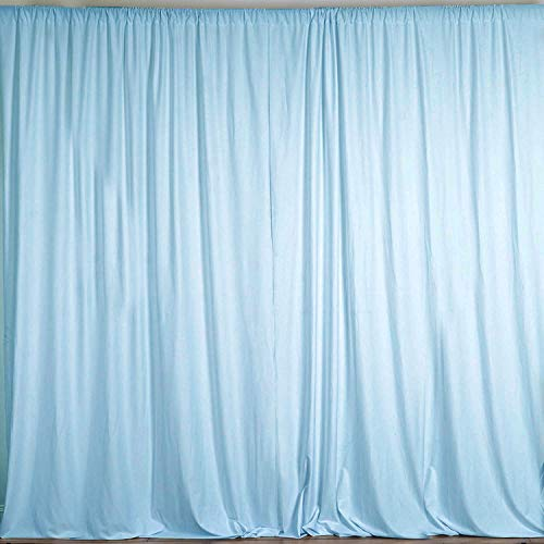 AK TRADING CO. 10 feet x 10 feet Polyester Backdrop Drapes Curtains Panels with Rod Pockets - Wedding Ceremony Party Home Window Decorations - Light Blue