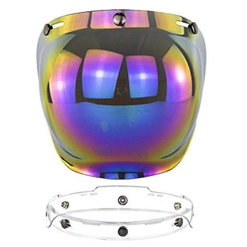 Claean-Acces-Home Fahrradhelm Kinder Open Face Helm Visier Retro Motorrad Bubble Visier High Stength PC Objektiv Helme Brille Windschutz-19_China