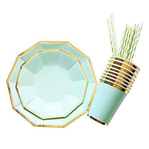 FGDFGDFEEGVD Platos de Papel Verde Menta de 66 Piezas (16 Invitados) - Platos Desechables de 7-9 Pulgadas, Vasos de Papel, pajitas, Platos Desechables para ensaladas de Papel para Banquetes de Boda