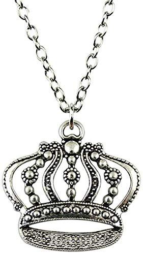 ZHIFUBA Co.,Ltd Collar con Colgante de Corona Grande Collar de Color Plateado Antiguo de Moda