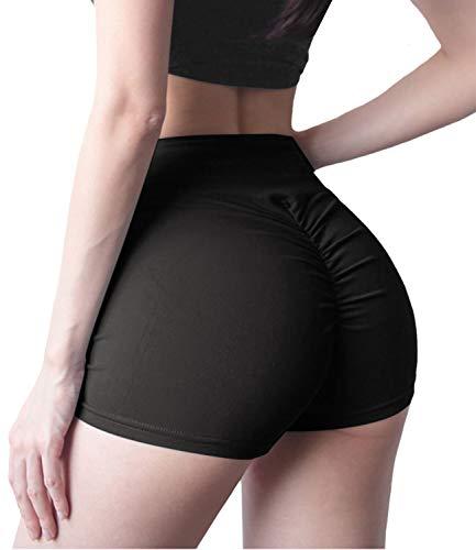 DUROFIT Pantaloncini Donna Sportivi Shorts Fitness Donna Vita Alta Leggins Senza Cuciture per Allenamento Palestra Running Nero L