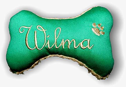 Hunde Spielzeug Kissen Knochen personalisiert bestickt persönliches Geschenk Hundeknochen Unikat Quitscher GRÜN Größe XXS XS S M L XL oder XXL mit Name Wunschname Hundekissen