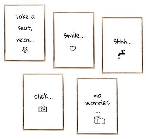 SIMPLY SIMON 5 Bilder für Badezimmer und WC mit lustigen Sprüchen – witzige Deko mit Zitaten für Bad und Toilette - DIN A4 Posterset mit Kunstdrucken