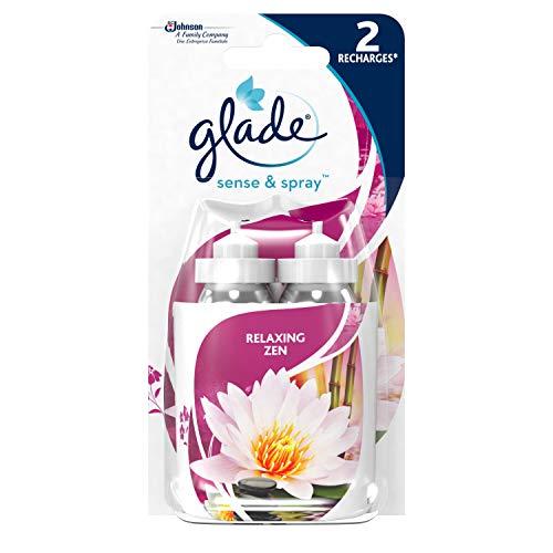 Glade By Brise Recharges pour Diffuseur Sense & Spray, Fraîcheur et Parfum d'Ambiance dans la Maison, 2 x 18 ml, Senteur Relaxing Zen