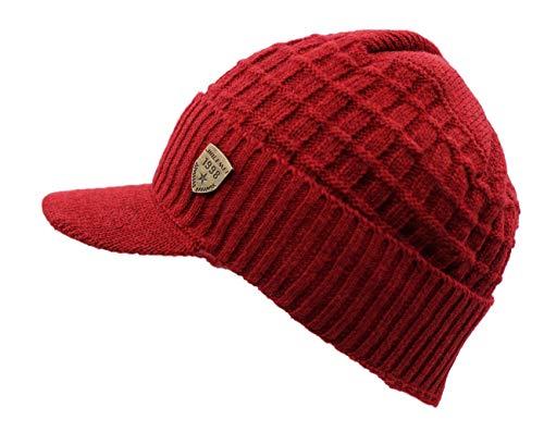 LLmoway Women Men Winter Warm Hat Fleece Lined Cuff Knit Beanie Chunky Ski Skull Cap with Visor Red