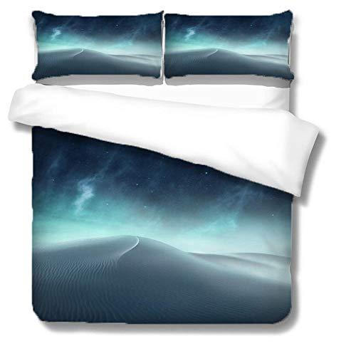LiYiAT Bettwäsche 155X220 cm mit Weich Atmungsaktiv Wüste Bettwäsche Set 3 Teilig 1 Mikrofaser Bettbezug mit Reißverschluss und 2 Kissenbezüge 80 X 80cm für Kinder Erwachsene