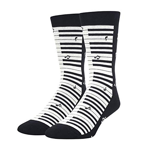 Mens Piano Music Note Socks in Black, Crazy Music Themed Gift for Music Lover