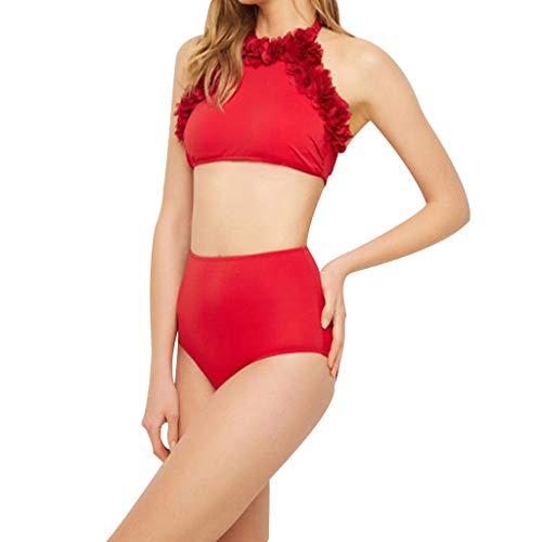 IHEHUA Mädchen Badeanzug Bikini Baby Mother Damen Mädchen Zweiteiliger Bademode Hawaiianische Badebekleidung Einfarbig Sexy Beachwear Swimwear(Rot-Damen,XXL)