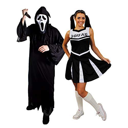 I LOVE FANCY DRESS LTD Halloween Paar=SCHWARZESCHEERLEADER+SCHREI/SENSENMANN=KOSTÜM VERKLEIDUNGEN=DAS Kleid HAT DIE Aufschrift Squad=Reaper+Maske + Messer= Reaper-Large+ XXLarge-Cheerleader