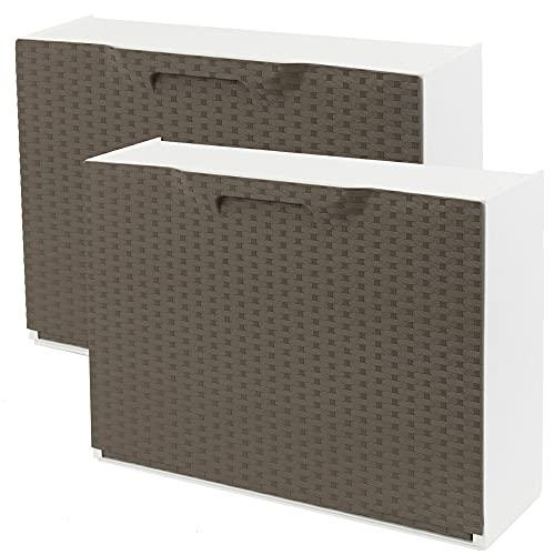 WellHome Pack de 2 zapateros en polipropileno color marron ACABADO RATTAN, 40,1x51x17,3 cms. c/u